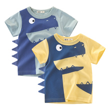 Cartoon Dinosaur Print Baby Boys Girls T Shirt for Summer New Infant Kids Tops Clothes Cotton Toddler Clothing
