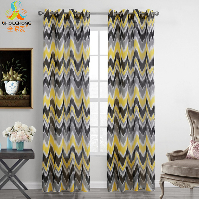 US $14.26  Modern Grommet Curtains Tulle Black Grey Yellow Waves Design  Curtain Sheers Panel Drapes for Living Room Window Decor 1PCS/Lot-in  Curtains ...