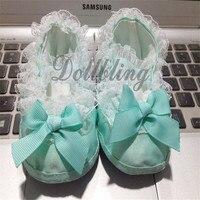 1 Par Azul/Color Blanco Oferta 0-1Yrs Princess Baby Girl Costura Hecha A Mano de Encaje Elástico Banda de Suela Blanda Infantil Bowknot Zapatos del pesebre
