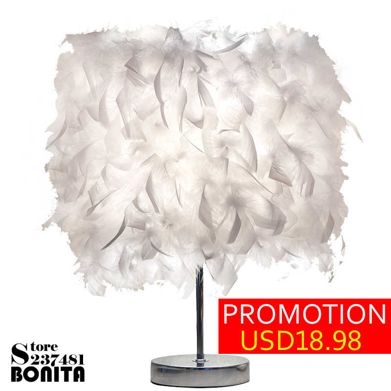 Small table lamp bedroom nightstand lamp  Korean birthday gift girl lovely lighting baby night light feather angel desk lamp