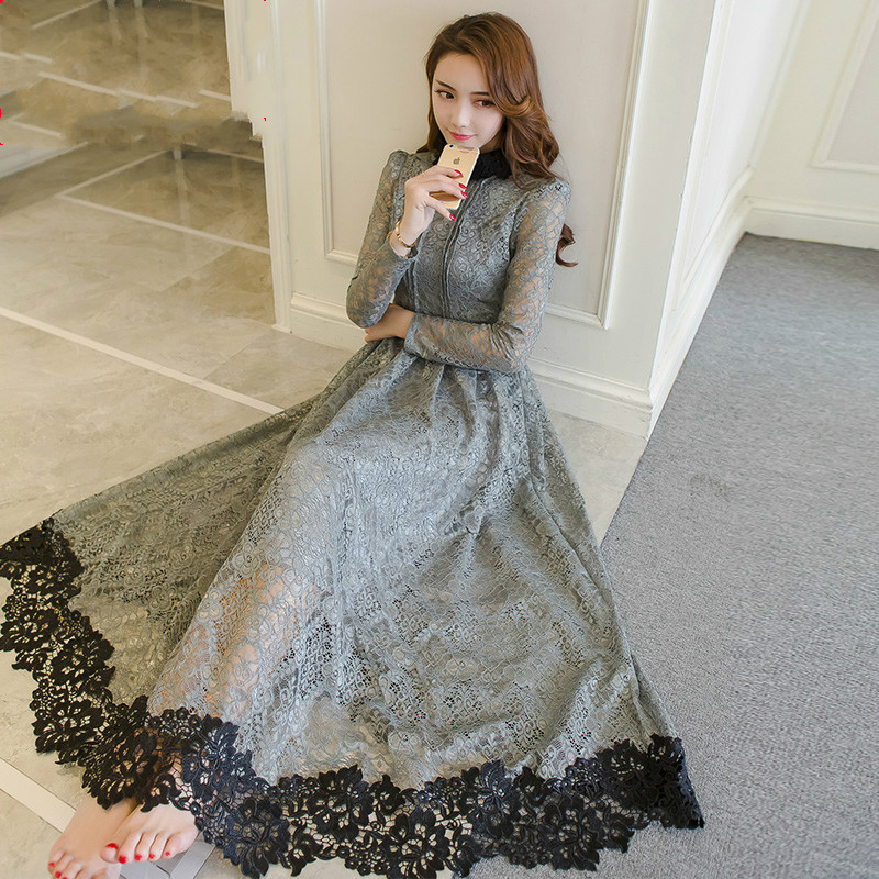 2018 Spring Fashion Women Stand Collar Grey Lace Dress
