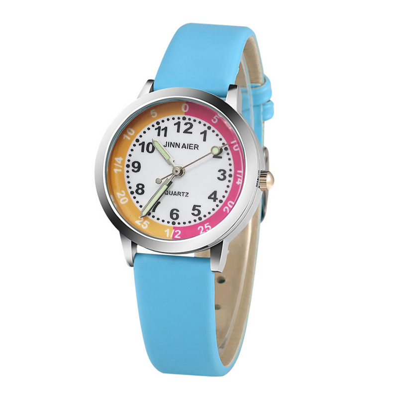Classic Digital Dial Child Fashion Watch Simple Design Pink Sky Blue Leather Boy School Quartz Clock Girl Child Birthday Gift