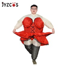 Self Inflatable Chubby Revue Dancer Costume Adult Funny Sexy Lady Bartender Fancy Dress Stag Hen Night Outfit