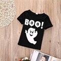 Niños de Halloween Lindo Tee 2016 Niñas Fantasma Impreso T-shirt de Algodón Tops Niños Ropa de Bebé