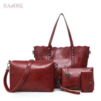 Designer Leather Women Handbags Multifunction 4 Sets Famous Brands Ladies Crssbody Shoulder Bags Female Red Tote Bag SAJOSE