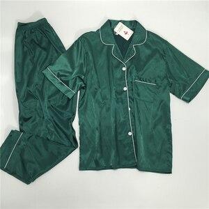Image 3 - パジャマ女性の大サイズ M 5XL シルクパジャマポケットホーム服固体パジャマ女性のためのパジャマファムホームスーツスパースター mujer