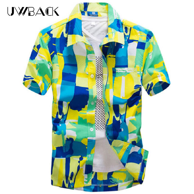 Uwback 2018 Summer Men Casual Shirt 11 Styles Fashion Hawaii Shirts Short  Sleeve Printed Beach Shirt S-5XL Chemise Homme XA561 5190eef01490