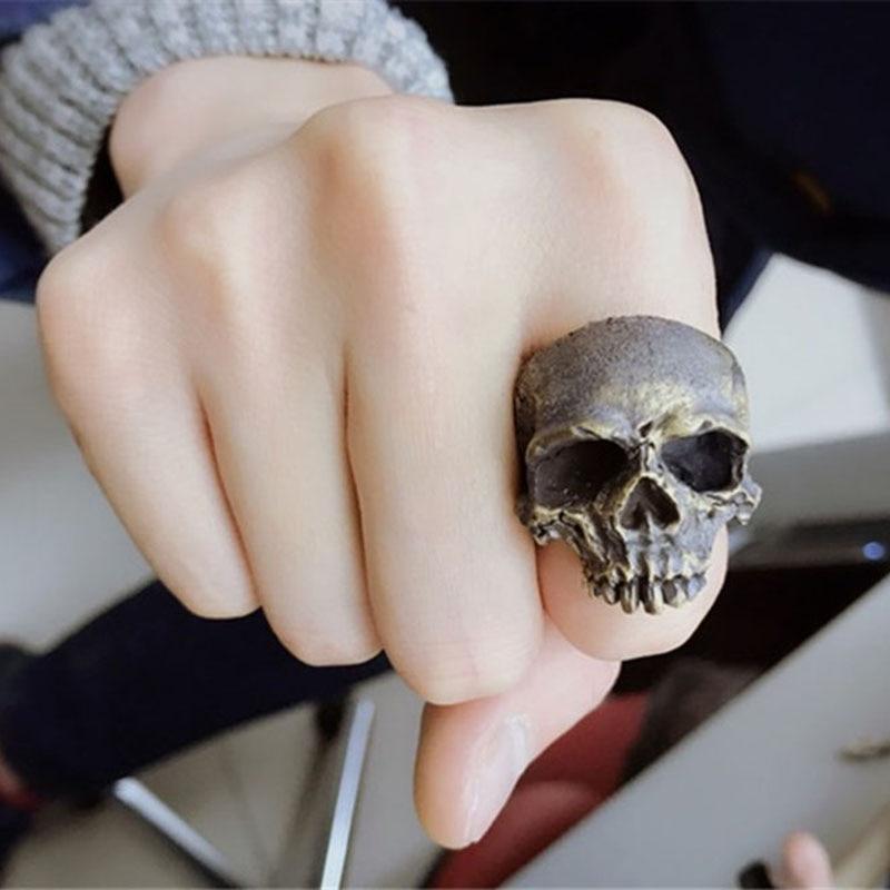 Fait à la main hommes anneau de crâne gothique Punk Biker cavalier anneau Vintage 925 argent/cuivre squelette bagues de doigt hommes bijoux personnaliser