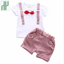 купить Toddler Boy Clothes Bow Gentleman Summer Set For Boy Casual Kids Short T Shirt + Pants Children's Clothing Baby Girl Outfits по цене 520.4 рублей