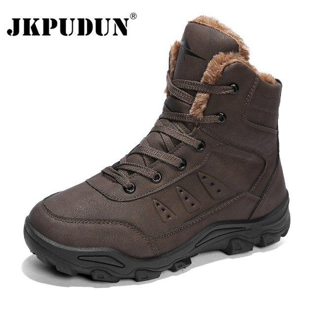 JKPUDUN ciepłe futro kostki śnieg buty męskie skórzane na co dzień zimowe buty robocze BHP na zewnątrz męskie buty wojskowe wodoodporne Plus rozmiar