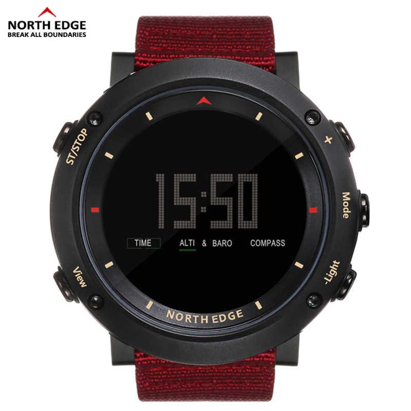 Северная режущая кромка для мужчин спортивные часы альтиметр барометр, термометр компас шагомер калорий Часы с нейлоновым ремешком цифровой бег скалолазание час