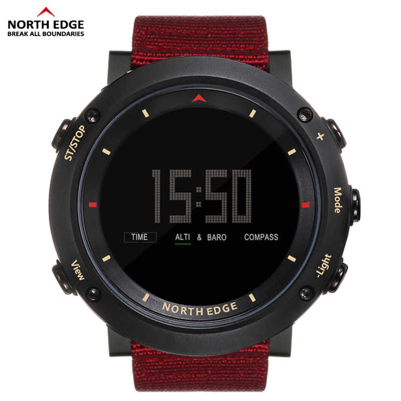 NORTH EDGE Men Sport Watch Altimeter Thermometer Barometer Compass Pedometer Calorie Nylon Watches Digital Running Climbing Hour