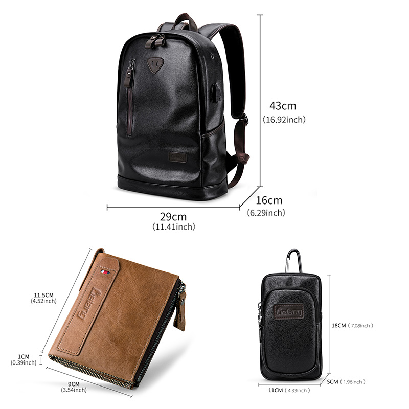 New Korean Version Of The Full Waterproof Mens Backpack Trend High-quality Pu Leather Bag Leisure Travel Large-capac Luggage & Travel Bags Travel Bags