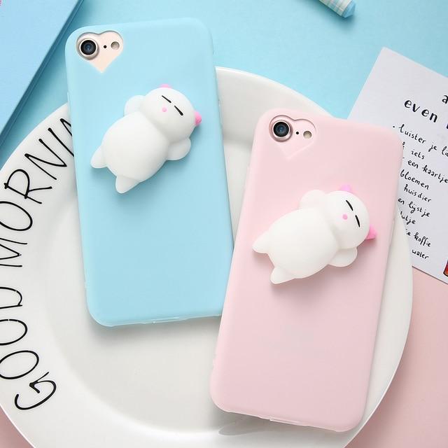 Cute Silicon Cartoon Cat Case for iPhone X, 8/8 Plus, 7/7 Plus, 6/6S/6 Plus/6S Plus