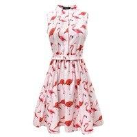 Vestods Summer Style 2016 Women Dress Flamingo Fun Flare Prints Casual High Waist Cute A Line