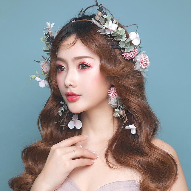 Imitation flower hoop fairy garland Earrings Set beach party women headwear Bride