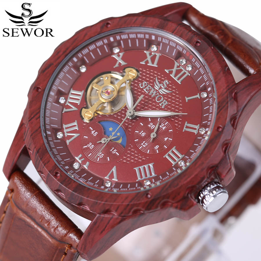 2018 Sewor men skeleton mechanical watch leather luxury man watch military classic wood colors watches montre homme wristwatch стоимость