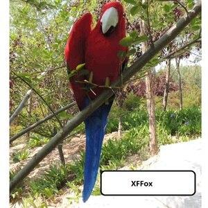 Милая модель красного и голубого попугая, пена и мех, настоящая жизнь, кукла-птичка с одним крылом, подарок около 30 см xf1087