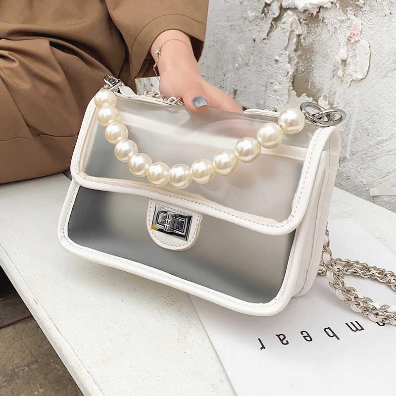 8c16a4e81983c Tatlı Kız Şeffaf Jöle çanta 2019 Moda Yeni Kaliteli PU Deri kadın Tasarımcı  Çanta Kilit Zincir