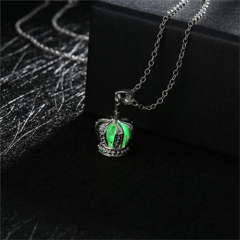 Glow In The Dark Silver Plated with Imperial Crown Shaped Luminous Choker Collar Pendant Necklace for Women Party