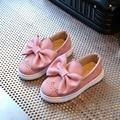 Crianças meninas shoes 2017 primavera adorável big bowknot crianças casual shoes moda respirável princesa shoes meninas apartamentos mocassins