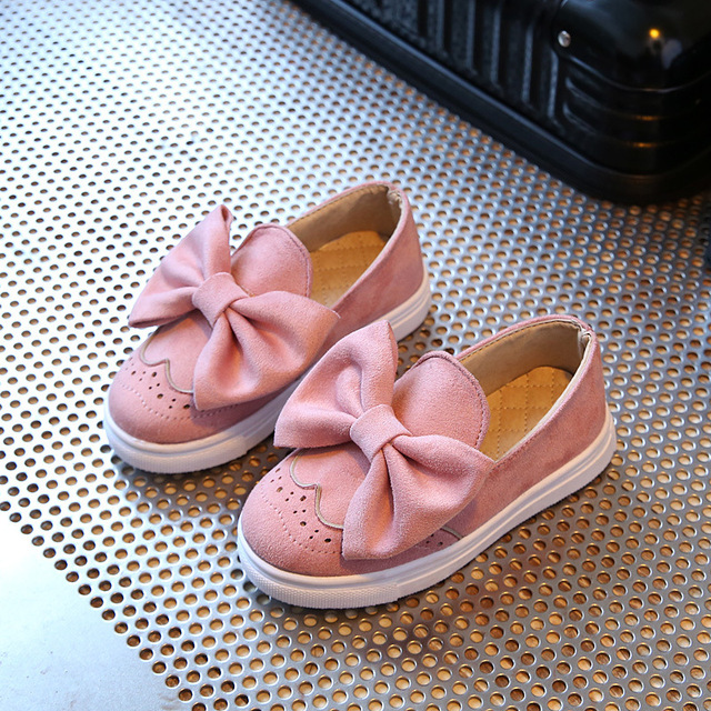 Kids Girls Shoes 2017 Spring Lovely Big Bowknot Children Casual Shoes Fashion Breathable Princess Shoes Girls Flats Loafers