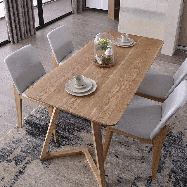 Madera nórdica mesas 6 persona mesa de comedor y cuatro sillas ...