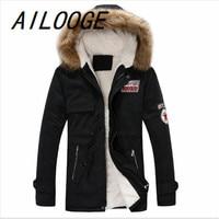 AILOOGENew Arrival Men's Thick Warm Winter Down Coat Fur Collar Army Green Men Parka Big Yards Long Cotton Coat Jacket Parka Men