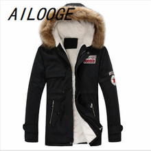 AILOOGENew Arrival Men's Thick Warm Winter Down Coat Fur Collar Army Green Men Parka Big Yards Long Cotton Coat Jacket Parka Men
