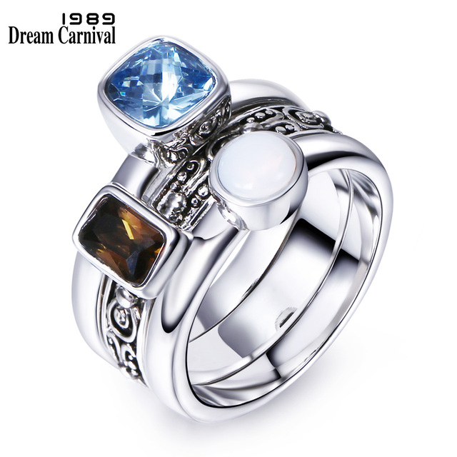 DreamCarnival1989 Unique Antique Ring For Women Men Vintage Party Jewelry Detach