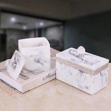 Роскошная черная квадратная коробка для хранения зубочисток с кристаллами Стразы круглая хлопковая коробка для салфеток Кассетная крышка аксессуары для дома