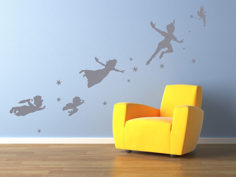 Peter Pan Tinkerbell Wall Stickers Home Decor For Kids Room Vinyl Wall Decal Mural Art Wall