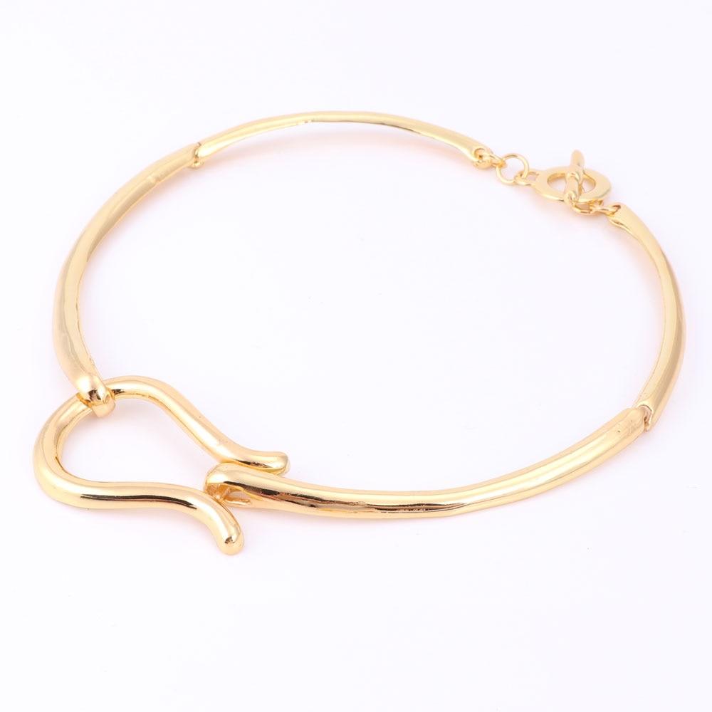 Modeschmuck sets für frauen gold farbe choker halskette ohrringe - Modeschmuck - Foto 3