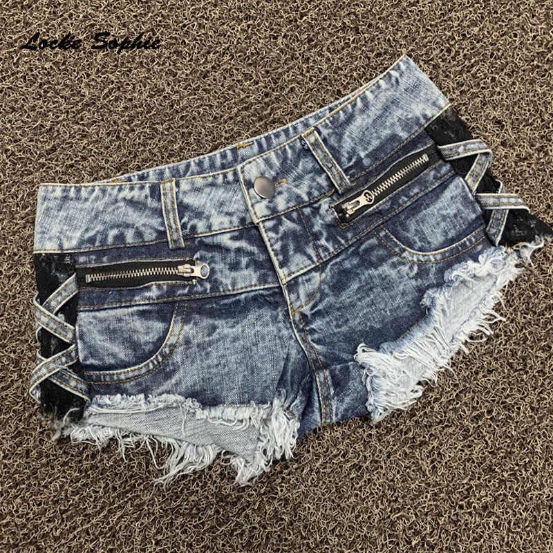 Wysokiej talii Sexy dżinsy damskie spodenki jeansowe 2019 lato denim bawełna zamek uszkodzony otwór damskie Skinny super krótkie dżinsy dziewczyny