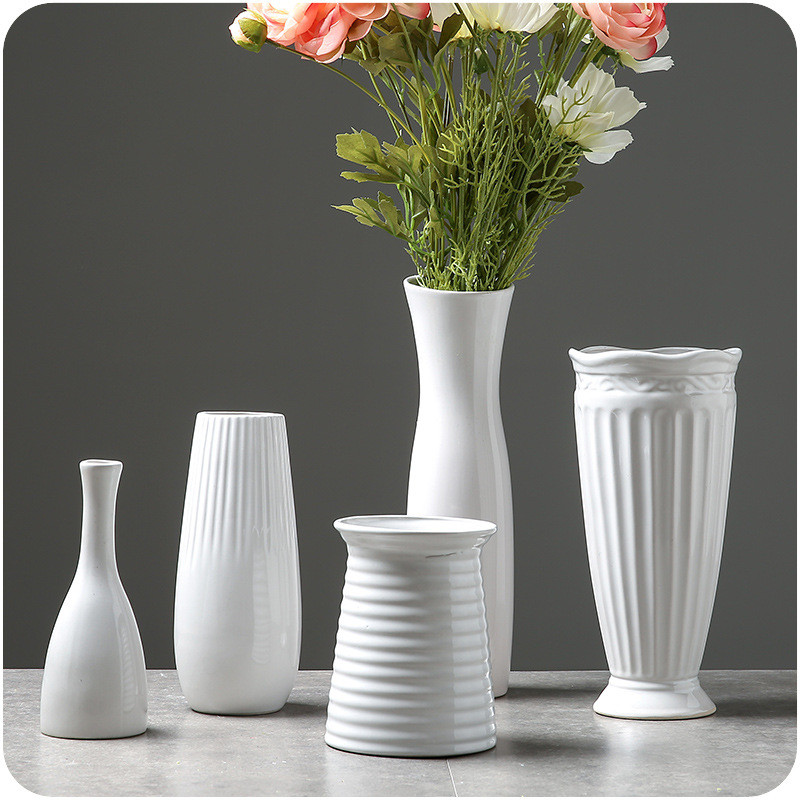 Solid White Vase Ceramic Home Decorative Flower Pots Planters Home Vase Accent Decor