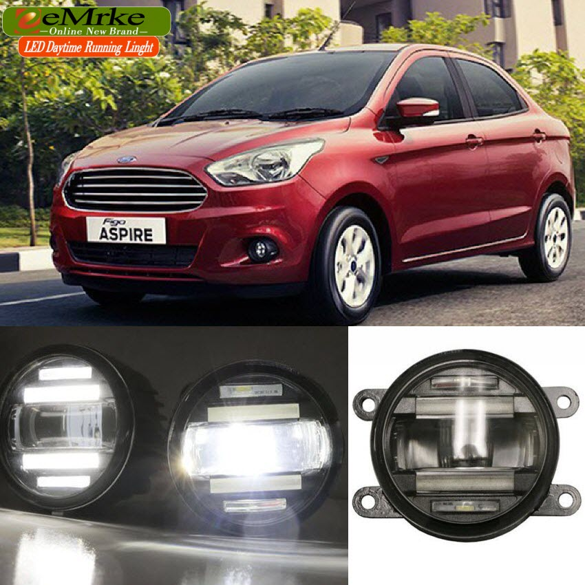 eeMrke Car Styling For Ford Figo 2015 2016 2 in 1 LED Fog Light Lamp DRL With Lens Daytime Running Lights eemrke car styling for opel zafira opc 2005 2011 2 in 1 led fog light lamp drl with lens daytime running lights