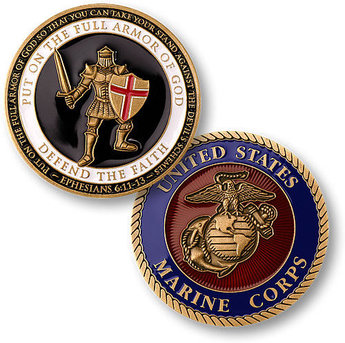Free shipping Armor of God U S Marines Challenge Coin