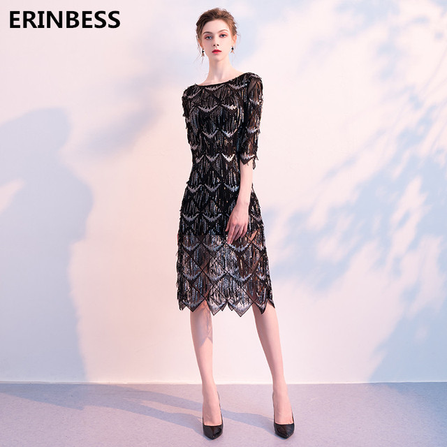 Sexy Deep Scoop Neck Black Evening Dresses Three Quarter Sleeve Formal  Party Gowns Tulle Sequined Evening Dress Elegant 2019 153a1867edac