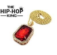 Mens 14k Gold Plated Iced Out Red Ruby Octagon Hip Hop Pendant