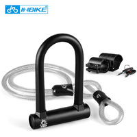 INBIKE Anti theft Bicycle Lock Set Bike Bicycle Motorbike Motorcycle Steel Cable Lock U Lock Safety Protect Bicycle Accessories