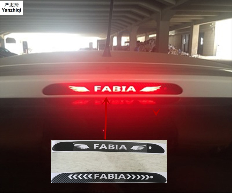 Car-Styling Taillight Brake Lights Lamp Protector Carbon Fiber Covers 3D Sticker For Skoda FABIA 2016-2018 Car Accessories 1PCS