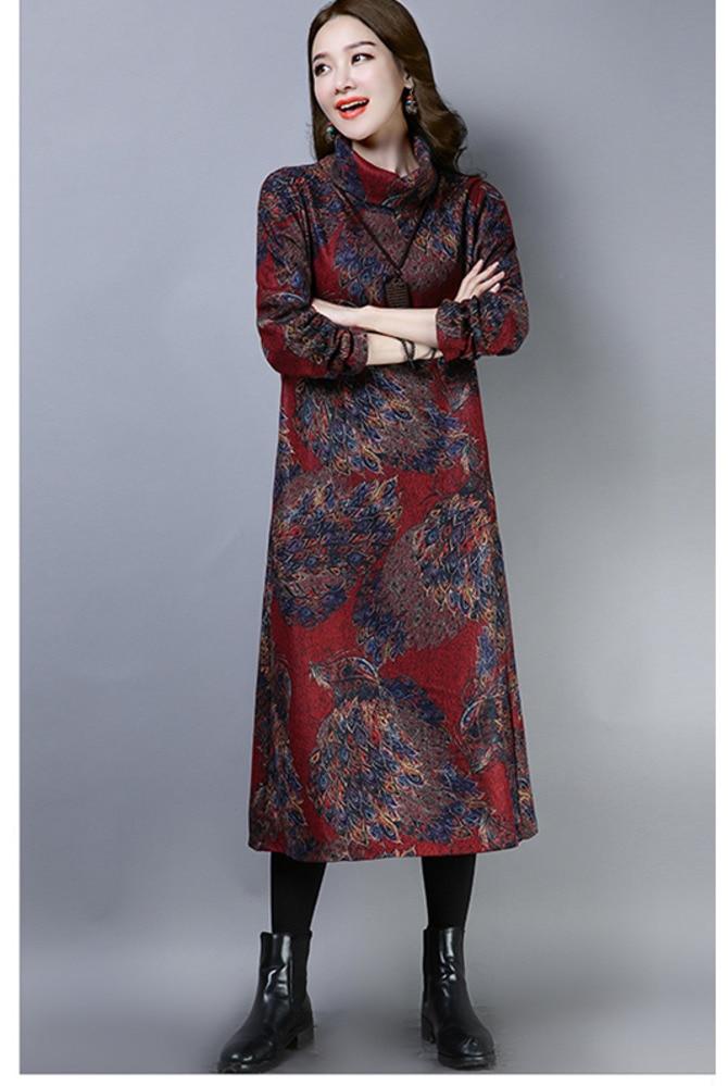 2019 New Women Spring Autumn Dresses Turtleneck Printed Female Long Sleeve Vintage Robe Dress Vestido 75