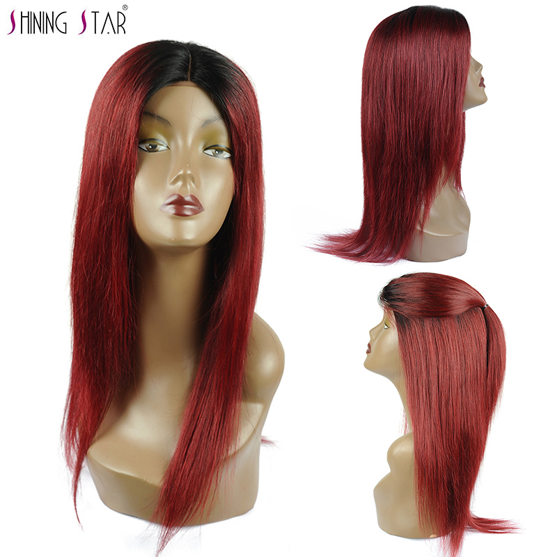 Shinng Star Brazilian Red Lace Front Wigs Human Hair For Black Women Ombre 99J Straight Long