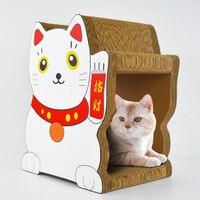 Кот приносящий удачу царапинам доска из гофрированной бумаги для кота играть доска дом миска для кошки прибыльный туннель кошка башня nip