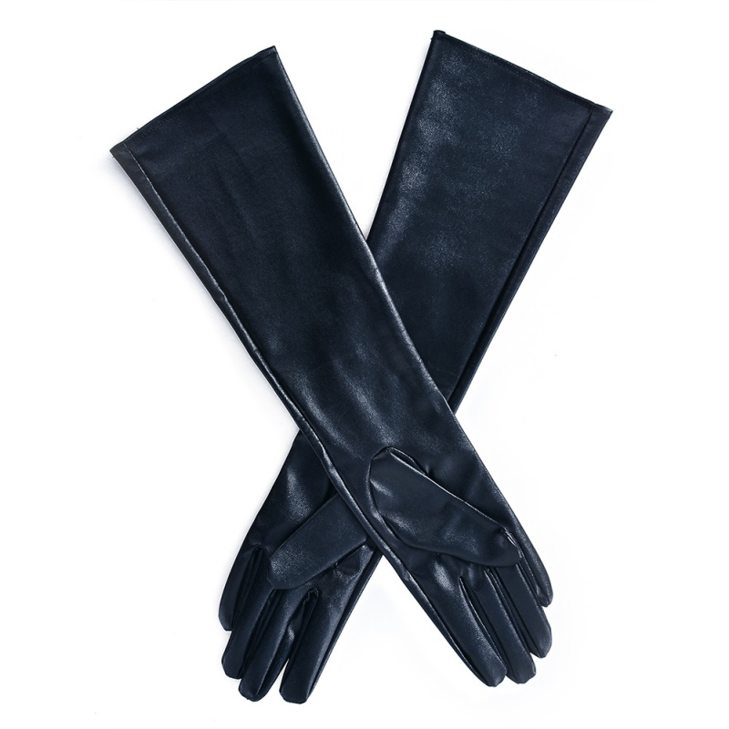 Winter Womens Long Gloves Warm Lined Finger Gloves Lady Faux Leather Elbow Gloves