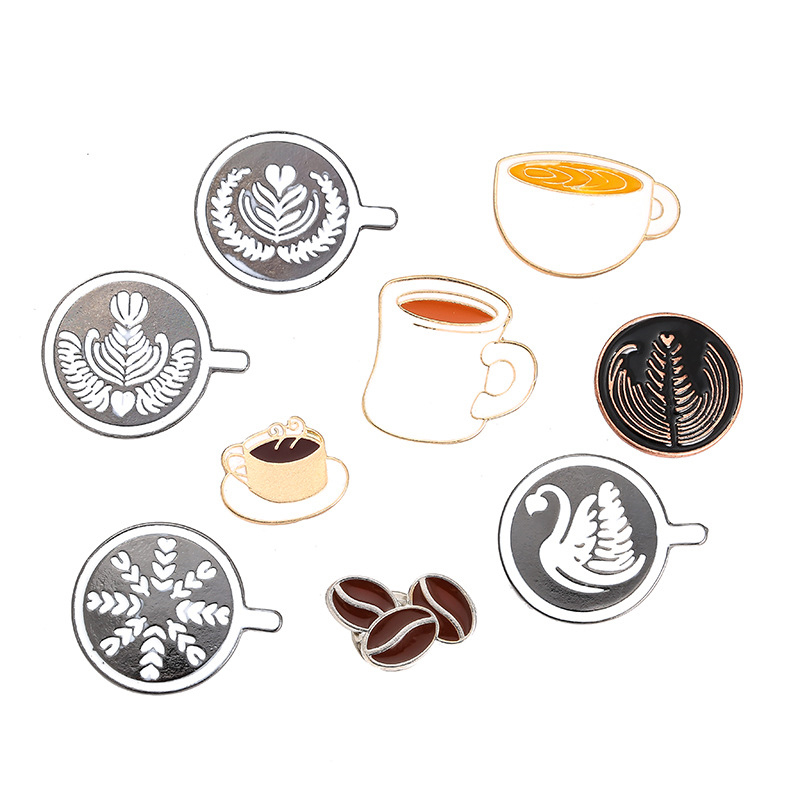 Coffee Badge / Couple Espresso Accessories / Glaze Tea Cup Drop Oil Brooch Mini Coffee Tamper Cafe Gift for Coffee Lovers