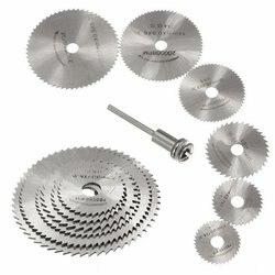 7 pçs hss ferramentas rotativas mini circular viu lâminas de corte discos conjunto alta qualidade broca mandril corte cortador ferramentas elétricas multitool