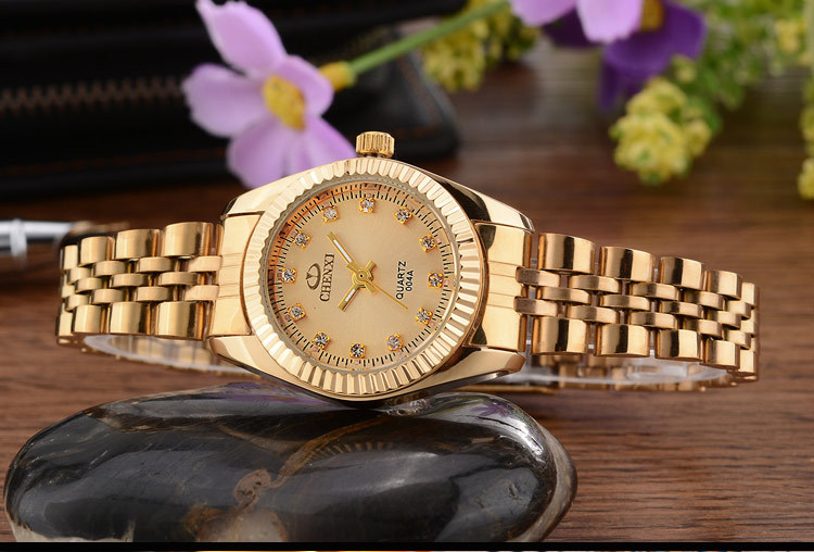 CHENXI Brand Top Luxury Ladies Gold Watch Women Golden Clock Female Women Dress Rhinestone Quartz Waterproof Watches Feminine 10