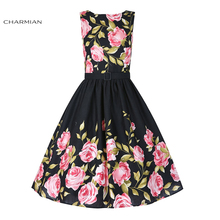 Charmian 1950's Hepburn Style High-waisted Bateau Neckline Rockabilly Rose Floral Pattern Swing Dress