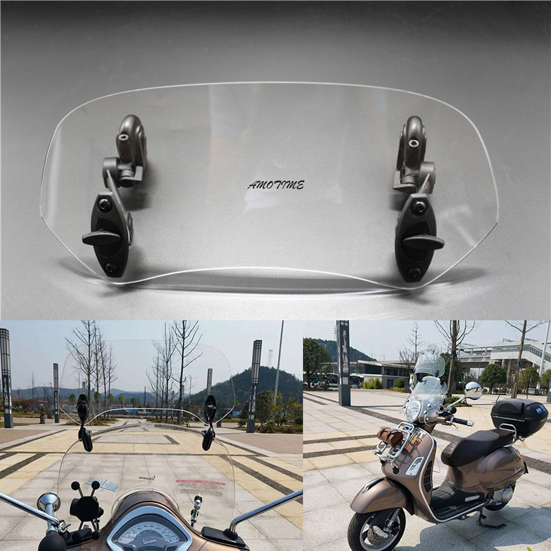Universal Adjustable Screen Windscreen Windshield Spoiler Air Deflector for vespa LX150 GTS 300 adjustable clip on windscreen windshield extension spoiler wind deflector adjustable lockable for motorcycle